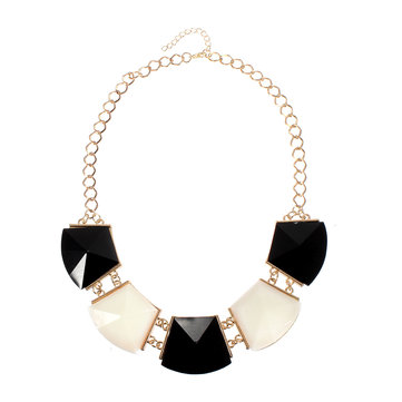 Black White Geometric Pendant Necklace