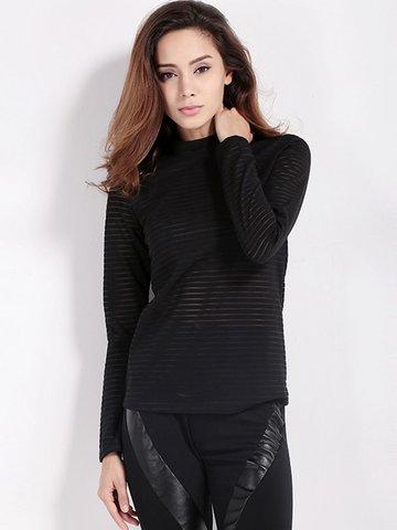 Women Sexy Stripe See-through O-neck Long Sleeve Tops