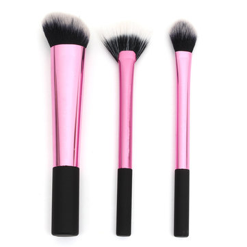 3Pcs Pink Makeup Brushes Set Eyeshadow Powder Face Brush