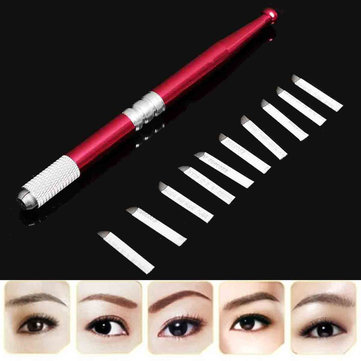 Eyebrow Lip Liner Pen With 10Pcs Needles Microblading Blades Embroidery Permanent Tattoo Kit