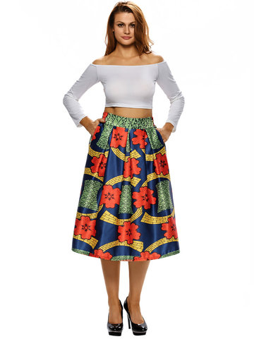 Elegant Women Printed High Waist Pocket Skirts