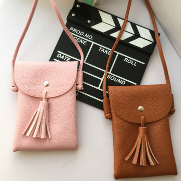 Tassel Portable PU Leather Phone Bag Shoulder Bags Crossbody Bags