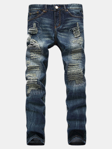 Vintage Style Stylish Personality Ripped Stone Washed Denim Jeans For Men