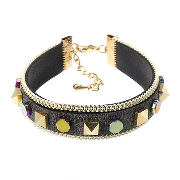 Stylish Diverse Rivet Bracelet Bohemian Punk Gold Plated Leather Cuff Bracelet Fashion Accessories