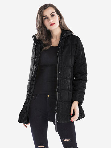 Women Solid Color Hooded Zipper Fly Cotton Down Coats