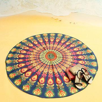 150cm / 59 '' Stile Bohemian Beach Yoga Asciugamano Tovaglia Tovaglietta Sciarpa di seta Mandala Lenzuolo rotondo