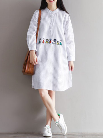 Casual Loose Ebroidery Stand Collar Striped Women Dresses
