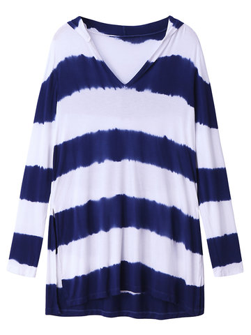 Casual Women Stripe V-Neck Hooded High Low Blouse