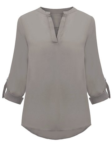OL Solid Loose Long Sleeve V-Neck Chiffon Women Blouse