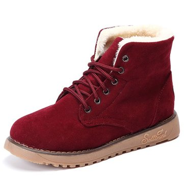 Winter Warm Lace Up Ankle For Women Flat Boots