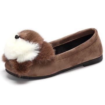 Cute Black White Bear Slip On Furry Flat Shoes