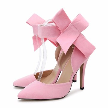 Sexy Butterfly Knot Removable Slim Pointed Toe High Heel Stilettos Pumps