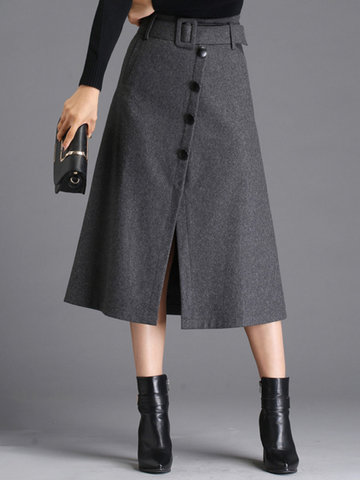 Casual Solid Color Button Fly A-Line  Women Slit Skirts