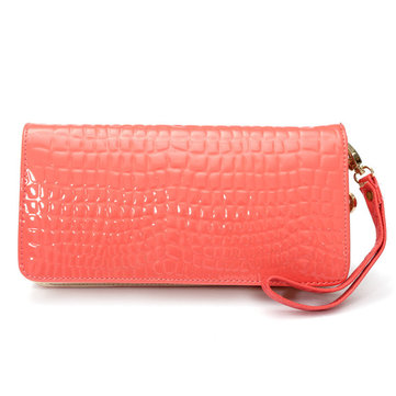 Women Candy Color Leather Long Wallet