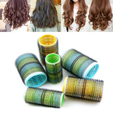 6Pcs Magic Hair Rollers Cylindrical Curler Makeup Self-adhesive Volume Tools
