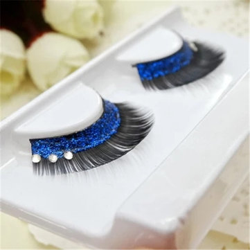 1 Pair Blue Sequins Crystal Thick False Eyelashes Individual Charm Beauty Stage Long Lashes