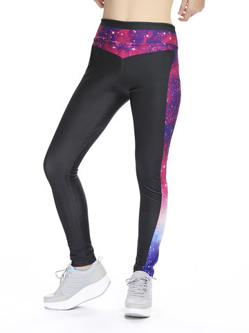 Women Sexy Starry Sky 3D Printed Leggings Elastic Stretched Sports Pants Shapewear