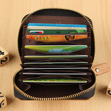 Men Women Genuine Leather Capacity Card Holder Portable Coin Bags