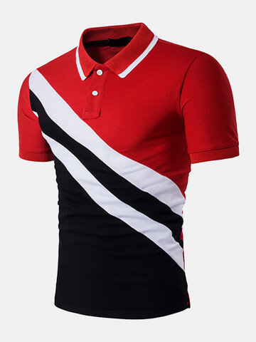 Mens Cotton Casual Diagonal Stripe Printing Short Sleeve Polo Shirt