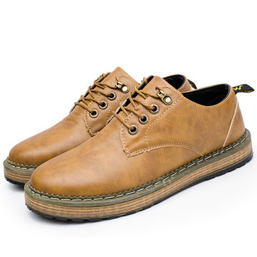 Men British Style Leather Lace Up Souliers simples