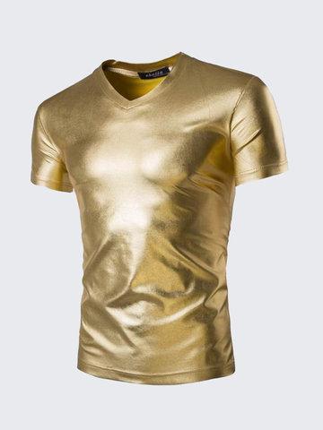 Мужские золотые футболки Футболки с коротким рукавом Slim Fit V Neck T-shirt