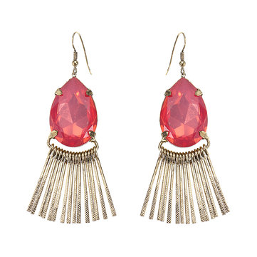 JASSY® Pink Crystal Drop Tassel Earrings