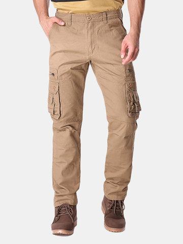 Charmkpr Multi Pockets Повседневные грузовые штаны Регулярные подходящие цветные длинные брюки для мужчин
