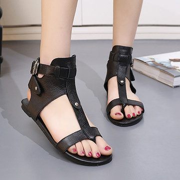 Black Leather Hollow Out Peep Toe Buckle Ankle Flat Roman Sandals Gladiators