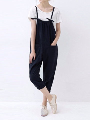 O-NEWE Casual Solid Spaghetti Strap Pockets Jumpsuit Overalls For Women