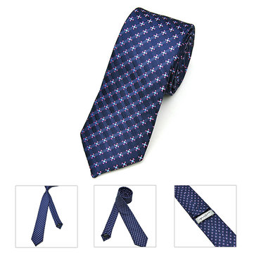 Buy Mens Business Dot Polyester Silk Skinny Jacquard Woven Solid Neckties