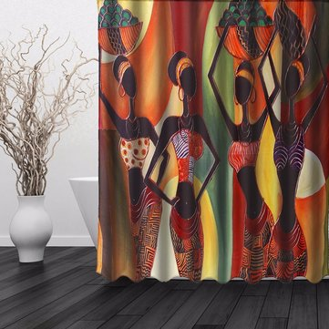 150x180cm Moldproof Waterproof Cartoon African Woman Bathroom Shower Curtain With 12 Hooks