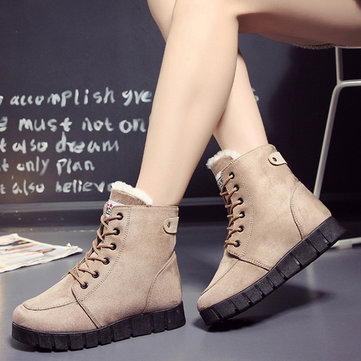 Pure Color Lace Up Ankle Casual Warm Boots