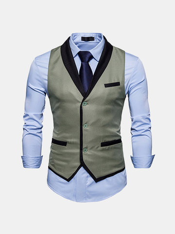 Casual Formal Business Slim Fit Chest Pockets Stitching Vest for Men