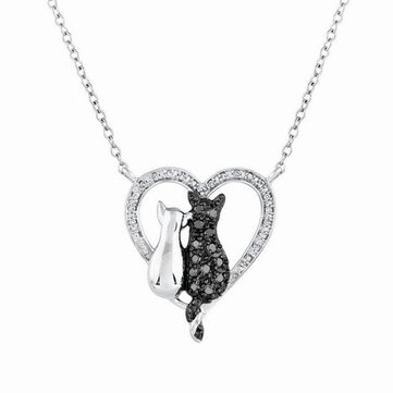 Crystal Couple Cats Heart Pendant Necklace