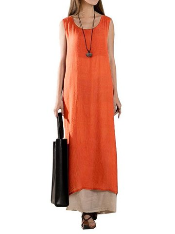 Vintage Loose Solid Layered Sleeveless Elegant Split Women Maxi Dress