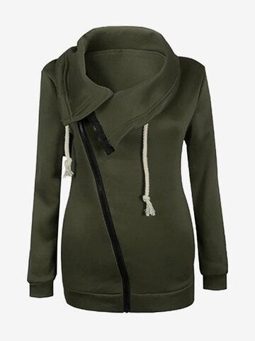 Повседневный Sideling Zipper Women Coats