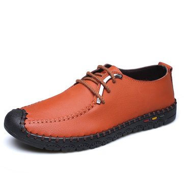 Leather Metal Toe Protecting Flat Lace Up Soft Casual Shoes