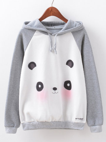 Cartoon Printed Hooded Sweatshirts