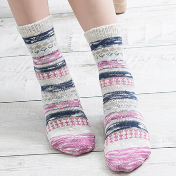 Women Vintage Cotton Comfortable Middle Tube Socks Casual Thicken Warm Socks