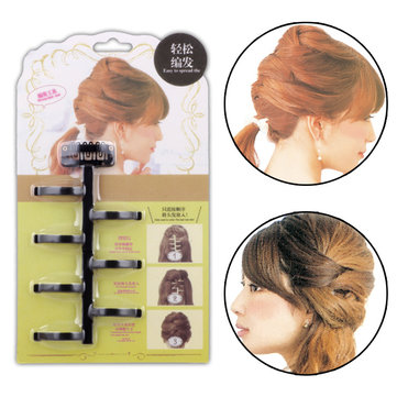 Hair Braid Twist Styling Tools Headbands Bun Maker Plastic Women Hair Accessories Black Coffee