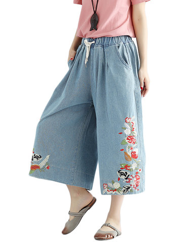 Casual Elastic Waist Embroidery Denim Wide Leg Pants For Women