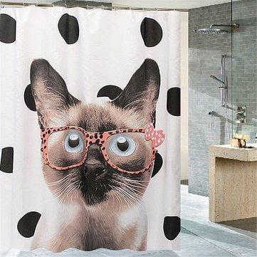 180x200 cm Cats Wear Glasses Art Waterproof  Shower Curtain With 12 Hooks Bathroom Decorations