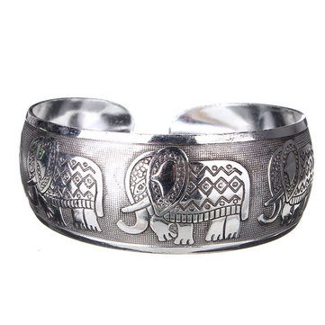 Carved Metal Tibetan Silver Cuff Bangle Bracelet