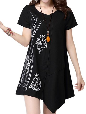 Women Lotus Printing Patchwork High Low Cotton Linen T-shirt