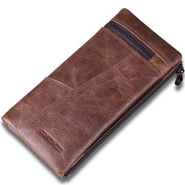 Ретро-бизнес Длинный кошелек 10-карточные держатели Натуральная кожаная сумка для монет сумка для мужчин