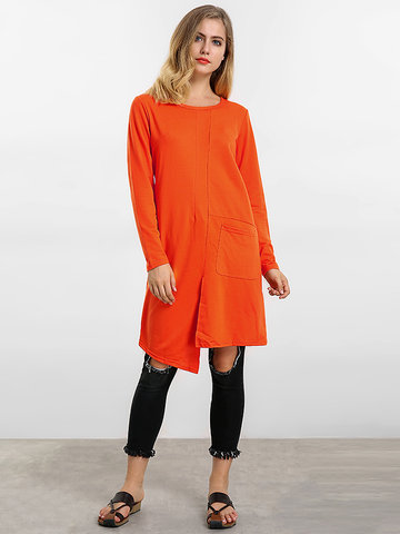 O-Newe Plus Size Solid Long Sleeve Split Asymmetric Mini Dress For Women