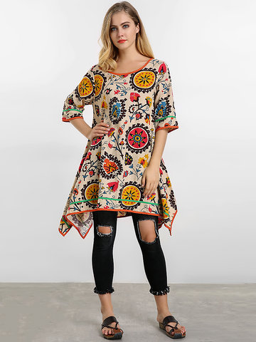 Women Totem Printing Irregular Dress