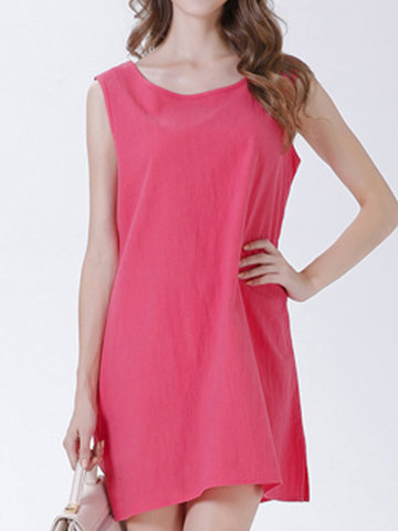 Casual Pure Color O-neck Sleeveless Mini Dress For Women