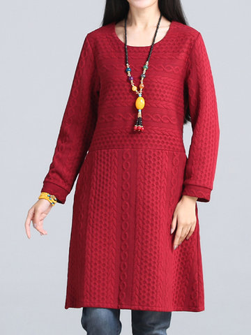 Vintage Women Embossed Thicken Long Sleeve Cotton Winter Dresses