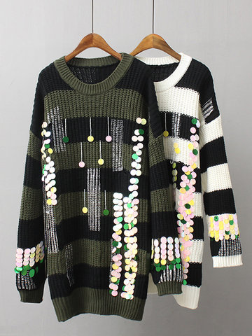 Stripe Sequins Beading Casual Sweaters